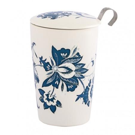 Tisanière blanche motifs fleuris