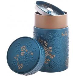 Boîte cylindrique Turquoise avec relief - Compagnie Anglaise des Thés
